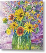 Blue-green Vase Of Wildflowers Metal Print