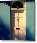 Blue House Door Metal Print