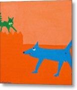 Blue Laughs At Green Cat Metal Print