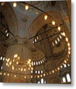 Blue Mosque Interior Metal Print by Sami Sarkis