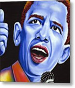 Blue Pop President Barack Obama Metal Print by Nannette Harris