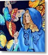 Blue Riding Hood Metal Print