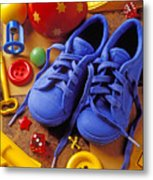 Blue Tennis Shoes Metal Print by Garry Gay