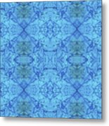 Blue Water Batik Tiled Metal Print