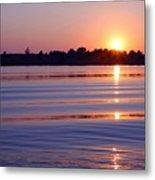 Blue Water Sunset Metal Print