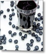 Blueberries And Blueberry Juice Metal Print