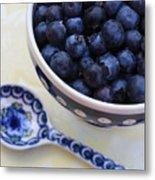 Blueberries And Spoon  Metal Print