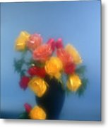Blurred Roses In The Blue Metal Print