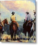 Board Meeting  Cowboy Painting Metal Print