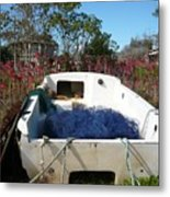 Boat And Blue Net Metal Print