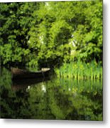 Boat Reflected On Water County Clare Ireland Painting Metal Print