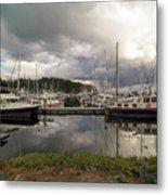 Boat Slips At Anacortes Marina In Washington State Metal Print