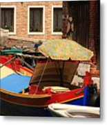 Boat With Umbrella On Canal In Venice Metal Print