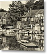 Boathouse Row In Sepia Metal Print by Bill Cannon