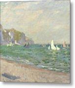 Boats Below The Cliffs At Pourville Metal Print by Claude Monet