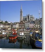 Boats Moored At A Harbor, Cobh, County Metal Print