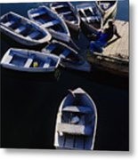 Boats Moored At Dock Metal Print