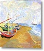 Boats On The Beach At Saintes-maries After Van Gogh Metal Print