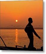 Boatsman On The Ganges Metal Print
