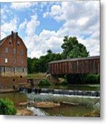 Bollinger Mill And Covered Bridge Metal Print