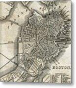 Boston Map Of 1842 Metal Print