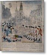 Boston Massacre.  British Troops Shoot Metal Print