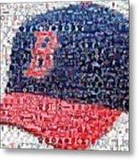Boston Red Sox Cap Mosaic Metal Print