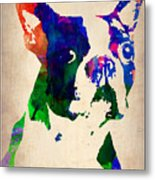 Boston Terrier Watercolor Metal Print by Naxart Studio