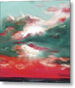 Bound Of Glory 2 - Square Sunset Painting Metal Print