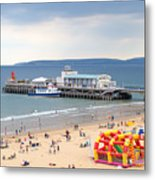 Bournemouth Pier And Beach Metal Print