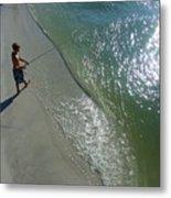 Boy Fishing On Captiva Metal Print
