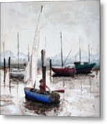 Boy In Blue Sailboat Metal Print