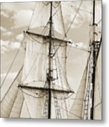 Brigantine Tallship Fritha Sails And Rigging Metal Print