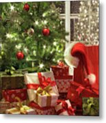 Brightly Lit Christmas Tree With Lots Of Gifts Metal Print by Sandra Cunningham