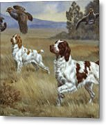Brittany Spaniels Flush Three Birds Metal Print