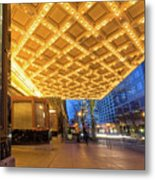 Broadway Theater Marquee Lights In Downtown Metal Print
