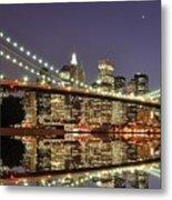 Brooklyn Bridge At Night Metal Print by Sean Pavone