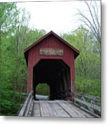 Brown County Covered Bridge Metal Print by Beverly Cazzell