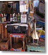 Brown Pelican Visiting Mexican Beach Bar Metal Print