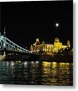 Budapest On The Danube At Night Metal Print