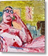 Buddha On The Phone One Of Four Metal Print