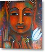 Buddha With A White Lotus In Earthy Tones Metal Print by Prerna Poojara