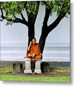 Buddhist Monk Sits Under Tree Metal Print