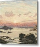 Bude Sands At Sunset Metal Print by John Brett
