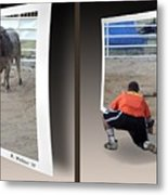 Bull Challenge - Gently Cross Your Eyes And Focus On The Middle Image Metal Print