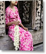 Burmese Flower Vendor Metal Print