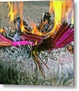 Burning Joss Sticks Metal Print