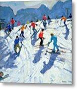 Busy Ski Slope Metal Print