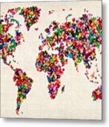 Butterflies Map Of The World Metal Print by Michael Tompsett