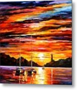 By The Entrance To The Harbor Metal Print